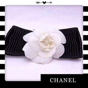 Auth Vintage CHANEL Camellia Ribbon Barrette